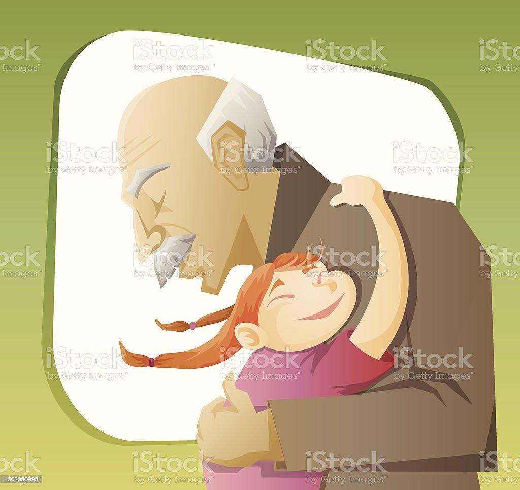 grandfather and grandchild vector art illustration