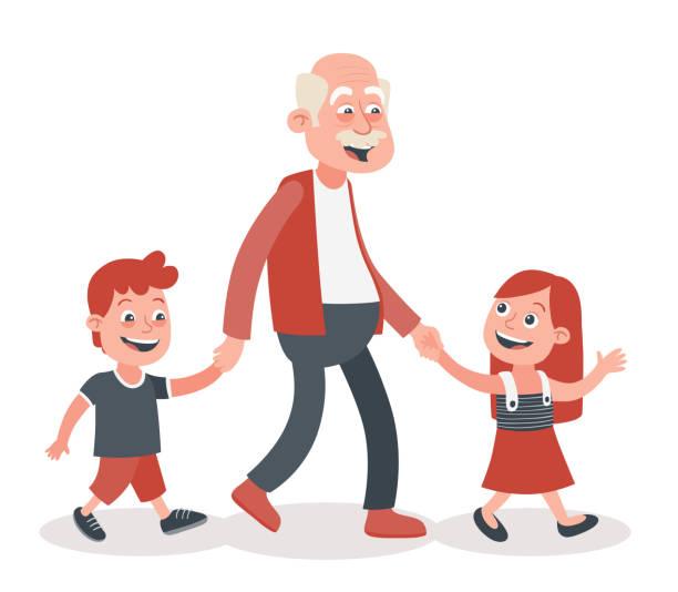 ilustraciones, imágenes clip art, dibujos animados e iconos de stock de abuelo y nietos caminando - nietos