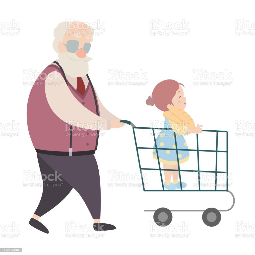 Personnages De Dessins Animés De Grandpère Et Sa Petitefille