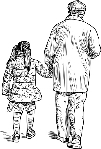 Grandfather And Granddaughter Go For A Walk Stock -9937