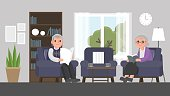 grandfather and grandmother are sitting on a sofa in living room.