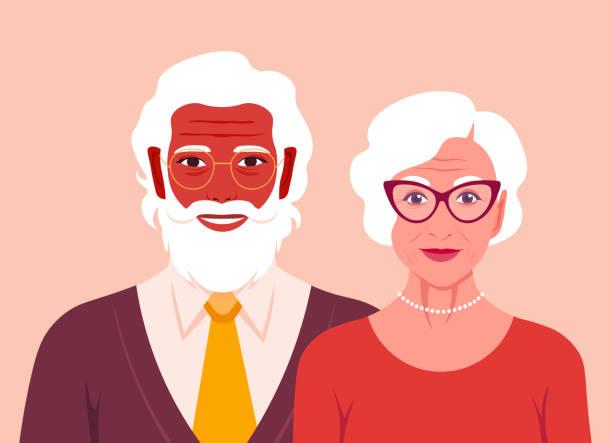 illustrazioni stock, clip art, cartoni animati e icone di tendenza di grandfather and grandmother are smiling. portrait of happy old people. retired couple. - couple portrait caucasian