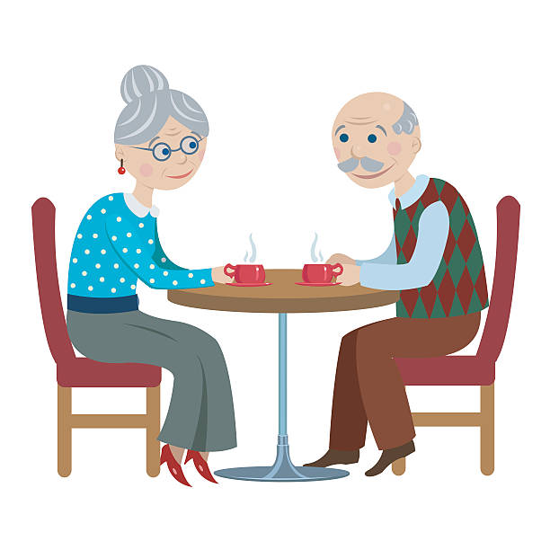 bildbanksillustrationer, clip art samt tecknat material och ikoner med grandfather and grandmother drink tea - middle aged man dating