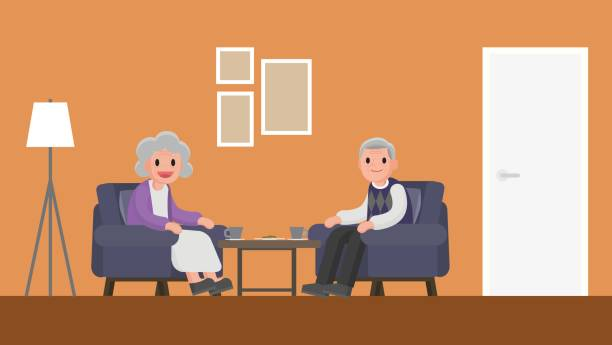 grandfather and grandmother sitting on a sofa in living room. - old man sitting backgrounds stock illustrations, clip art, cartoons, & icons