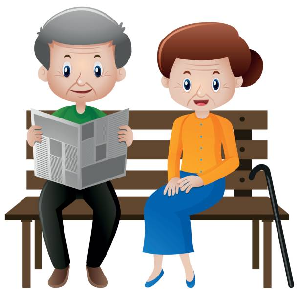 grandfather and grandmother sitting on the seat - old man sitting chair clip art stock illustrations, clip art, cartoons, & icons