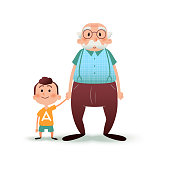 Grandfather and grandson holding hands. Little boy and old man cartoon vector illustration. Happy family concept
