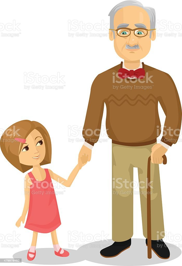 Grandfather and grandson. Vector flat cartoon illustration vector art illustration
