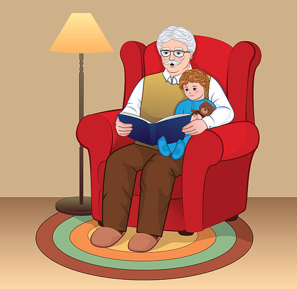grandfather and grandson - old man sitting chair clip art stock illustrations, clip art, cartoons, & icons