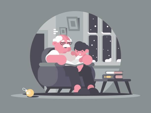 ilustraciones, imágenes clip art, dibujos animados e iconos de stock de abuelo y nieto  - nieto