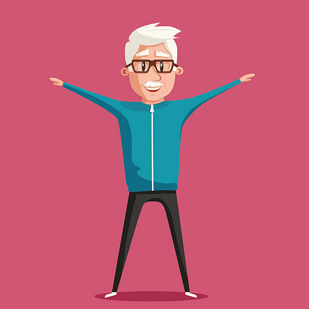 grandfather and gymnastics. old man. cartoon vector illustration - old man standing drawings stock illustrations, clip art, cartoons, & icons