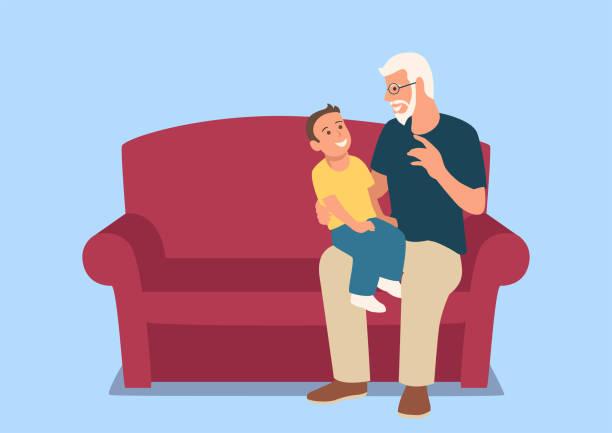 bildbanksillustrationer, clip art samt tecknat material och ikoner med farfar och hans barnbarn sitter i soffan - parent talking to child