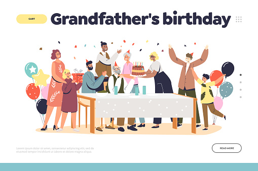 Grandfather birthday concept of landing page with big family gathering for granddad anniversary