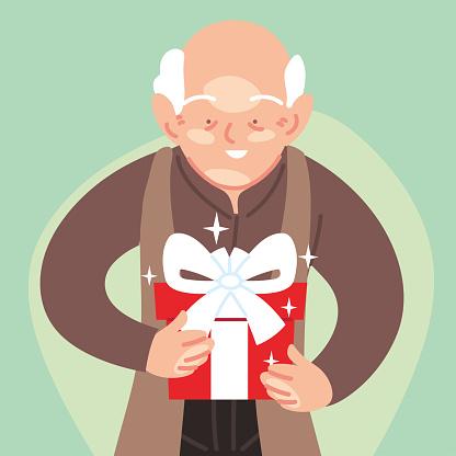 grandfather cartoon opening gift vector design