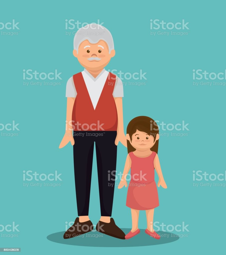 grandfather character member avatar vector art illustration