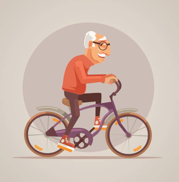 grandfather character ride bike - old man on bike stock illustrations, clip art, cartoons, & icons