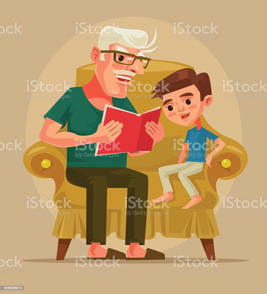 Grandfather character sit with grandson and read book story vector art illustration