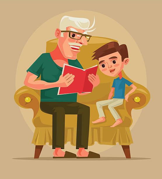 ilustraciones, imágenes clip art, dibujos animados e iconos de stock de grandfather character sit with grandson and read book story - nieto