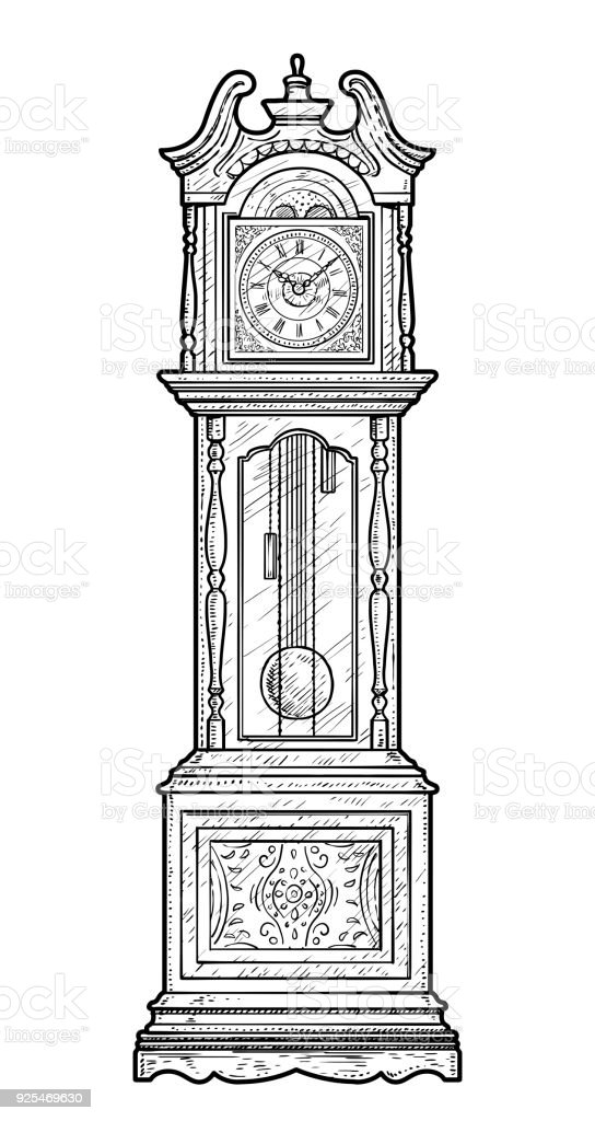 Grandfather Clock Illustration Drawing Engraving Ink Line ...