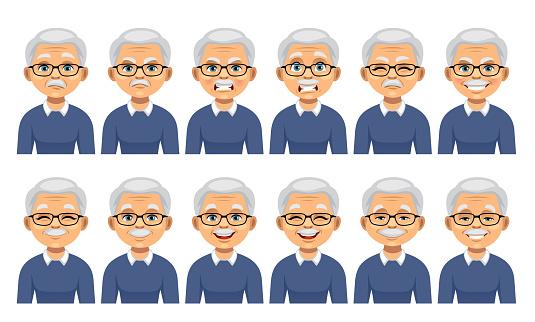 Grandfather facial emotions set