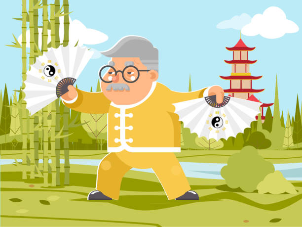 Grandfather fan chinese wushu taichi kungfu fitness china healthy activities adult old age man asian character cartoon nature background flat design vector illustration Grandfather fan chinese wushu taichi kungfu fitness china healthy activities adult old age man asian character cartoon nature background flat design vector illustration qigong stock illustrations