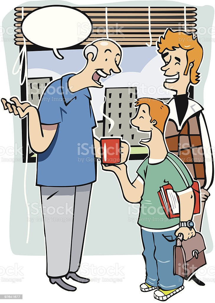 Grandfather, father and son chatting royalty-free stock vector art