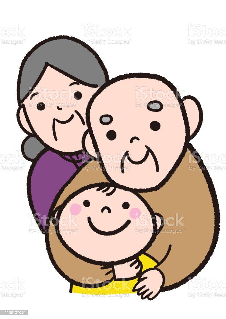 おじいちゃんおばあちゃんかわいい孫 イラストレーションのベクターアート素材や画像を多数ご用意 Istock