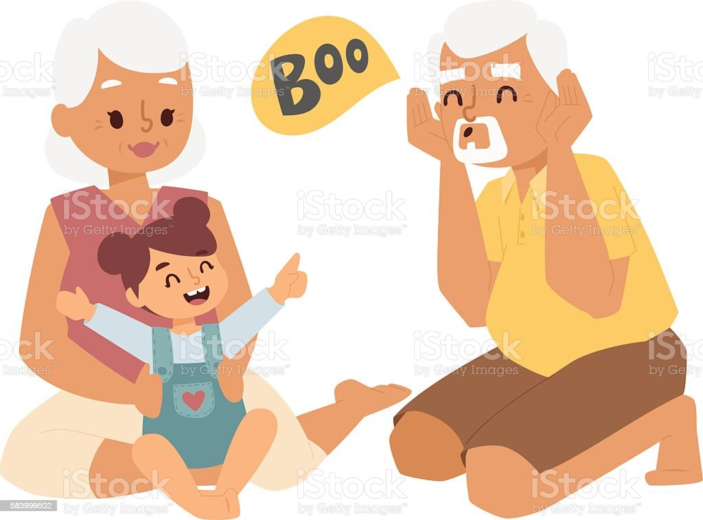 Grandfather, grandmother and granddaughter vector illustration. vector art illustration