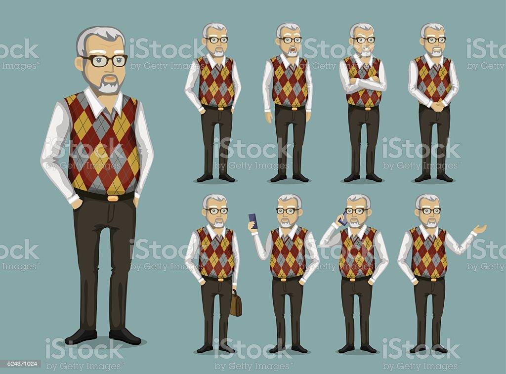 Abuelo en ropa de negocios - ilustración de arte vectorial