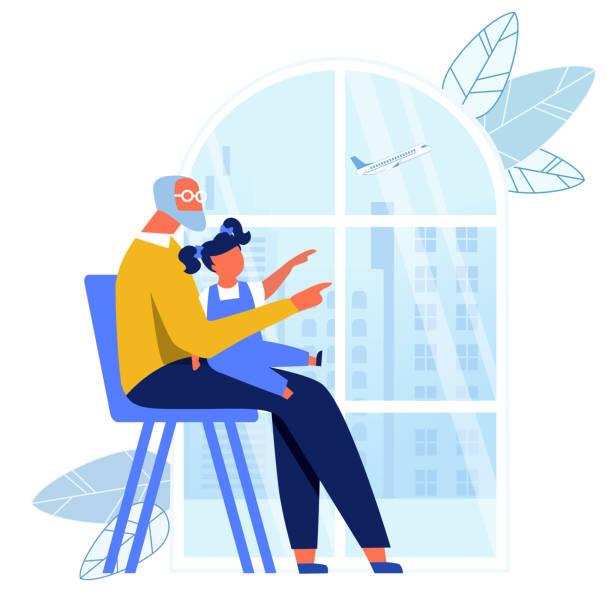 ilustraciones, imágenes clip art, dibujos animados e iconos de stock de abuelo cuidando la ilustración vectorial de niños - nieta