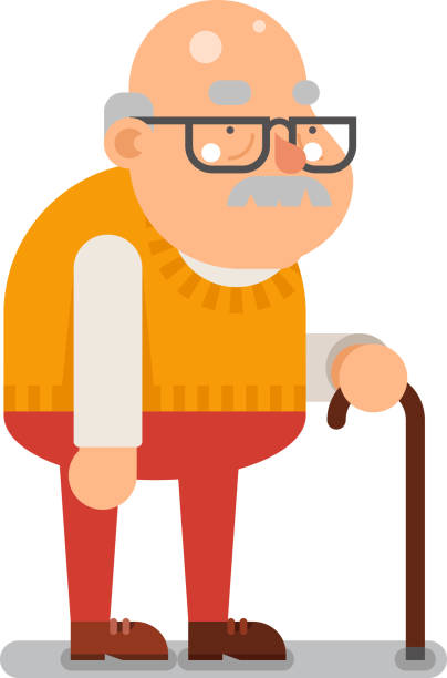 grandfather old man character cartoon flat design vector illustration - old man shoes stock illustrations, clip art, cartoons, & icons