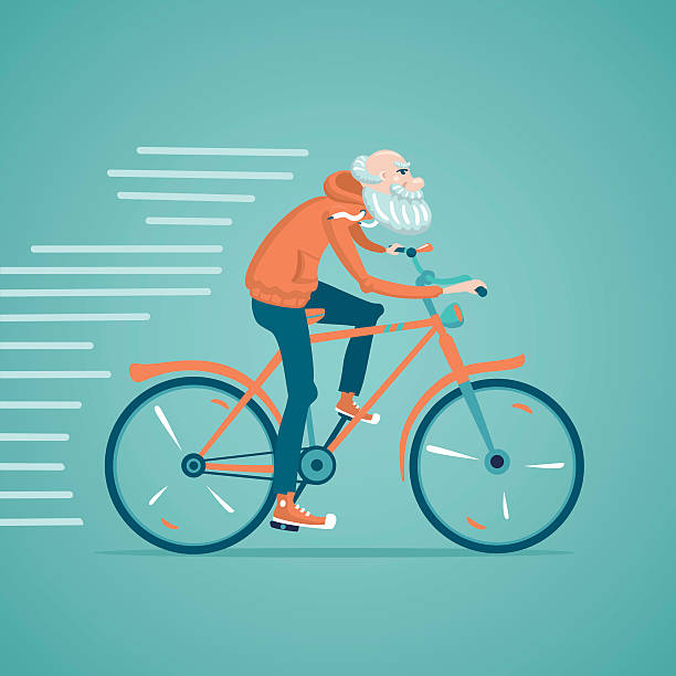 grandfather on a bike - old man on bike stock illustrations, clip art, cartoons, & icons