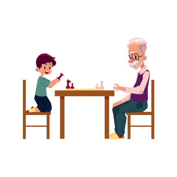 grandfather playing chess with his grandson, boy - old man clipart stock illustrations, clip art, cartoons, & icons
