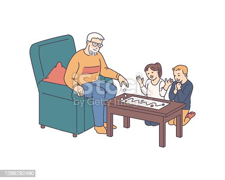 Grandfather plays board game with children, sketch vector illustration isolated.