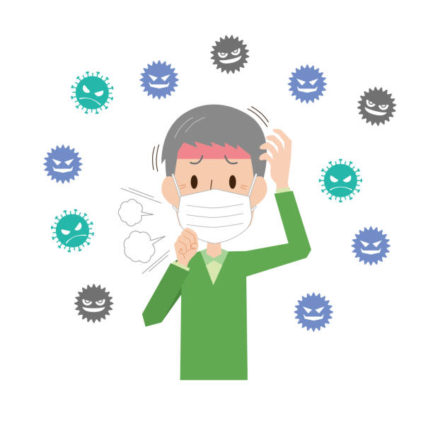 grandfather protecting himself from virus - old man mask stock illustrations