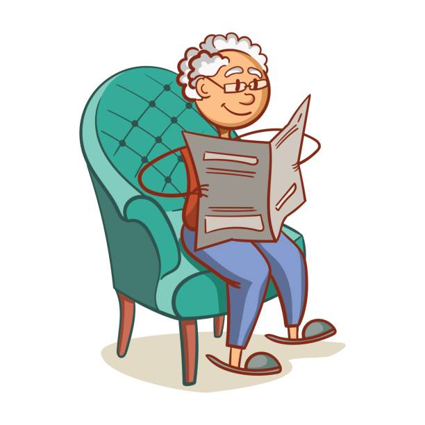 grandfather reading a newspaper - old man sitting chair drawing stock illustrations, clip art, cartoons, & icons