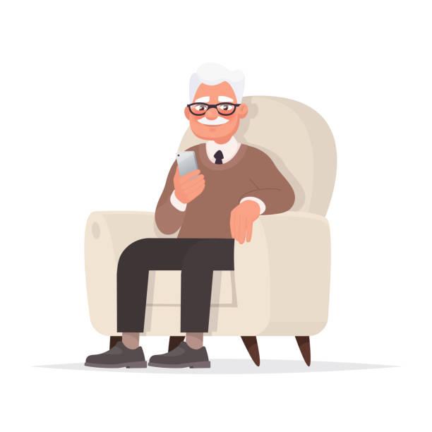 ilustrações, clipart, desenhos animados e ícones de o avô senta-se em uma cadeira e prende um telefone em sua mão. ilustração do vetor - idoso
