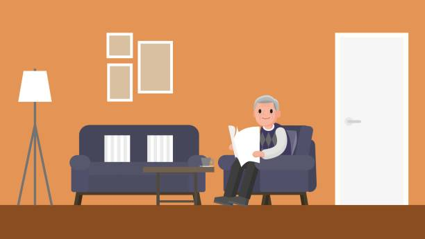 grandfather sitting on a sofa in living room. - old man sitting backgrounds stock illustrations, clip art, cartoons, & icons