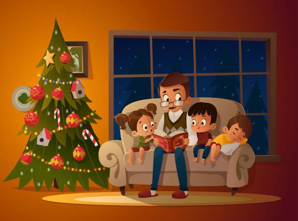 stockillustraties, clipart, cartoons en iconen met grootvader zitten met de kleinkinderen op een gezellige zitbank met het boek, in de buurt van de kerstboom. boek sprookje verhaal lezen en vertellen. jongens en meisje luisteren naar hem. vectorillustratie. gezellige avond - christmas family