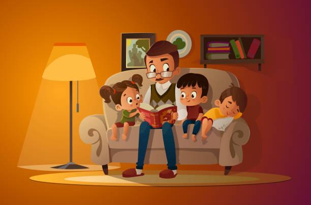 ilustraciones, imágenes clip art, dibujos animados e iconos de stock de abuelo sentado con nietos en un cómodo sofá con el libro, leyendo y contando historia de cuento de hadas libro. chicos y chicas escúchenle. ilustración vectorial de dibujos animados. acogedora noche familiar. - nietos