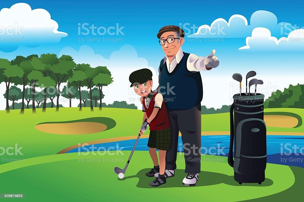 Grandfather teaching his grandson playing golf vector art illustration
