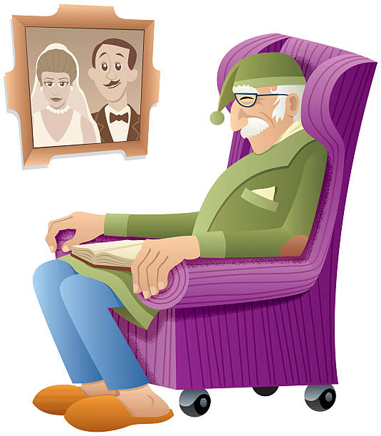 grandfather - old man sitting chair clip art stock illustrations, clip art, cartoons, & icons