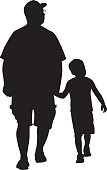 Vector illustration of a grandfather walking hand in hand with his grandson.