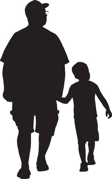 ilustraciones, imágenes clip art, dibujos animados e iconos de stock de abuelo con nieto - nietos