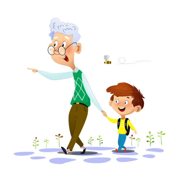 ilustraciones, imágenes clip art, dibujos animados e iconos de stock de paseos de abuelo con su nieto y hablar con él - nieto