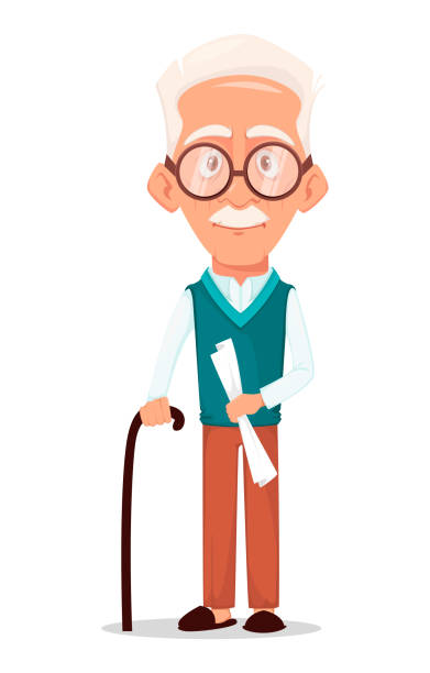 ilustraciones, imágenes clip art, dibujos animados e iconos de stock de abuelo con gafas - abuelo