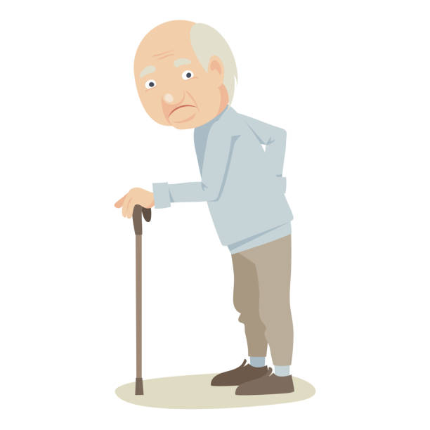 grandfather with a cane. - old man on a back pain silhouette stock illustrations, clip art, cartoons, & icons