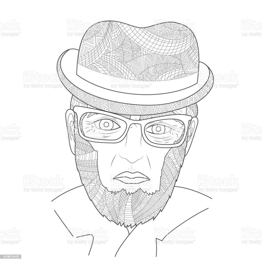 Dedesi Ile Bir Gözlük Hat Boyama Kitabı Stok Vektör Sanatı Adamlar