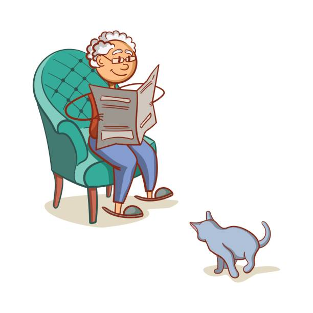 grandfather with cat - old man sitting chair drawing stock illustrations, clip art, cartoons, & icons