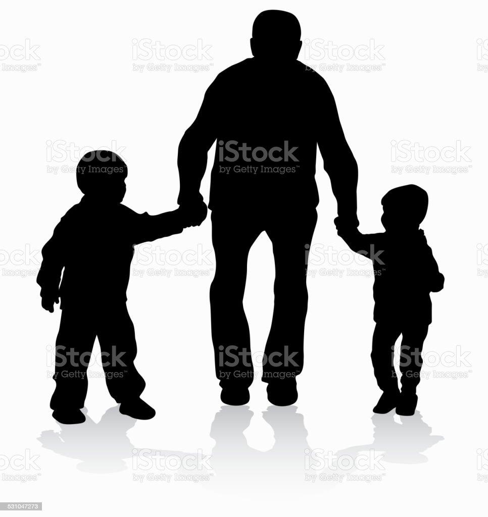 Grandfather with grandchildren vector art illustration