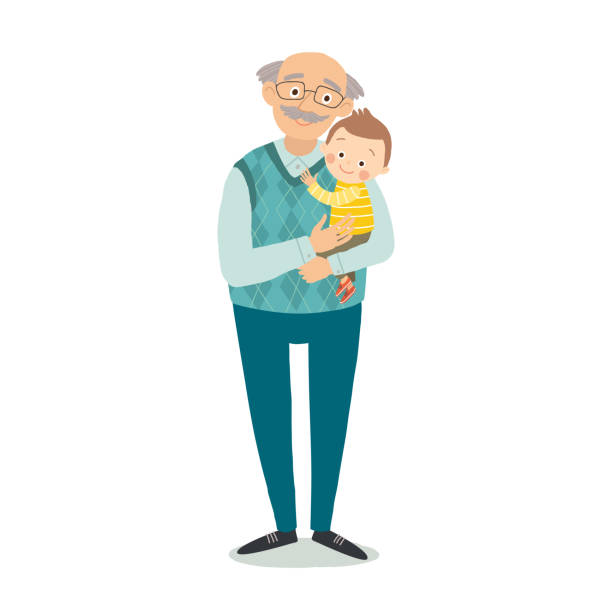 grandfather with grandson. family photo. grandparents day greeting card concept. cartoon vector hand drawn eps 10 illustration isolated on white background in a flat style - old man glasses stock illustrations, clip art, cartoons, & icons